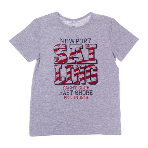 Футболка163060Мягкая хлопковая футболка с короткими рукавами и эластичной бейкой на воротнике. Универсальный цвет позволяет сочетать ее с любой одеждой . Модель оформлена стильным принтом.