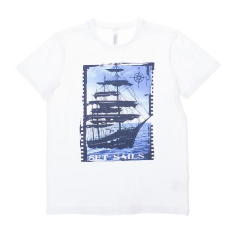 Футболка для мальчиков. 163065163065Белая хлопковая футболка с короткими рукавами. Украшена ярким фотопринтом с кораблем.
