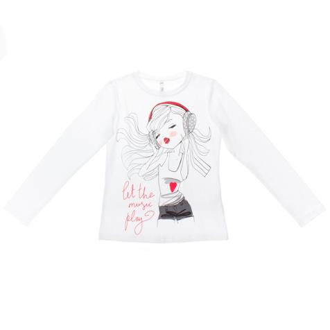 Футболка для девочек. 164009164009Хлопковая футболка с длинными рукавами. Ткань с добавлением 5% эластана. Украшена стильным принтом с блестками.