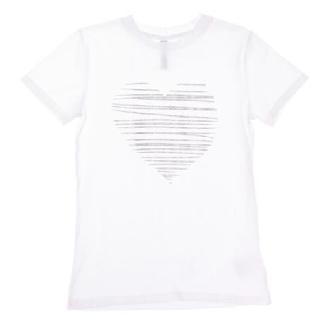 Футболка для девочек. 164011164011Стильная хлопковая футболка с короткими рукавами. Украшена глиттерным принтом на груди.