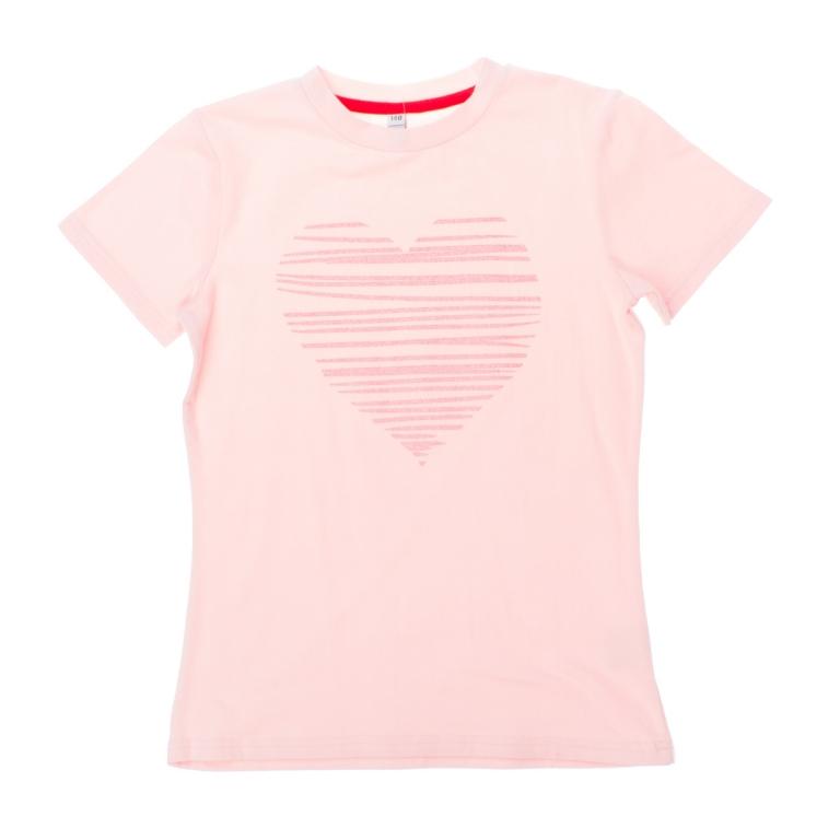 Футболка для девочек. 164012164012Стильная хлопковая футболка с короткими рукавами. Украшена глиттерным принтом на груди.