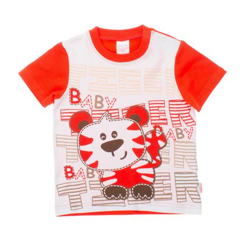 Футболка для мальчика. 167063167063Мягкая хлопковая футболка с короткими рукавами. Украшена водным принтом с обезьянкой, на плечах застежки-кнопки. Рукава и спинка оранжевого цвета. Воротник на мягкой трикотажной резинке.
