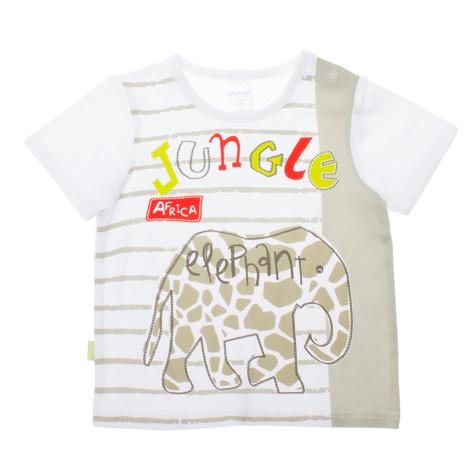 Футболка для мальчика Baby. 167066167066Стильная футболка для мальчика PlayToday Baby станет отличным дополнением к детскому гардеробу. Модель выполнена из эластичного хлопка, очень мягкая и приятная на ощупь, не сковывает движения и позволяет коже дышать, обеспечивая наибольший комфорт. Футболка с круглым вырезом горловины и короткими рукавами застегивается на кнопки по плечевому шву, что помогает с легкостью переодеть ребенка. Воротник дополнен мягкой эластичной бейкой. Спереди изделие оформлено оригинальным водным принтом. Сбоку имеется небольшая текстильная нашивка с названием бренда. Оригинальный дизайн и расцветка делают эту футболку модным предметом детской одежды. В ней ваш ребенок всегда будет в центре внимания!