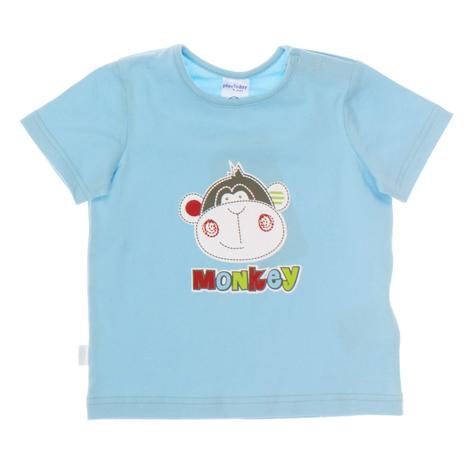 Футболка для мальчика. 167072167072Базовая хлопковая футболка с короткими рукавами. На плечах застежки-кнопки, рукава с отворотом. На груди резиновый принт с обезьянкой. Цвет - голубой.