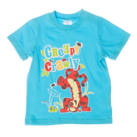 Футболка для мальчика Disney Baby. 667053667053Яркая футболка для мальчика PlayToday Disney Baby станет отличным дополнением к детскому гардеробу. Модель выполнена из эластичного хлопка, очень мягкая и приятная на ощупь, не сковывает движения и позволяет коже дышать, обеспечивая наибольший комфорт. Футболка с круглым вырезом горловины и короткими рукавами застегивается на кнопки по плечевому шву, что помогает с легкостью переодеть ребенка. Воротник дополнен мягкой трикотажной резинкой. Оформлено изделие резиновым принтом в виде Тигры и надписью Creepy Crawly. Дизайн и расцветка делают эту футболку модным предметом детской одежды. В ней ваш ребенок всегда будет в центре внимания!