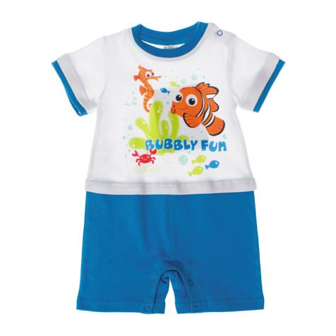 667805Песочник для мальчика PlayToday Disney Baby идеально подойдет вашему малышу. Изготовленный из эластичного хлопка, он необычайно мягкий и приятный на ощупь, не сковывает движения малыша и позволяет коже дышать, не раздражает даже самую нежную и чувствительную кожу ребенка, обеспечивая ему наибольший комфорт. Песочник с короткими рукавами и круглым вырезом горловины застегивается на металлические кнопки на плече и ластовице, что позволяет без труда переодеть ребенка или сменить подгузник. На груди модель оформлена ярким водным принтом. Оригинальный дизайн и модная расцветка делают этот песочник незаменимым предметом детского гардероба. В нем вашему маленькому мужчине будет комфортно и уютно.