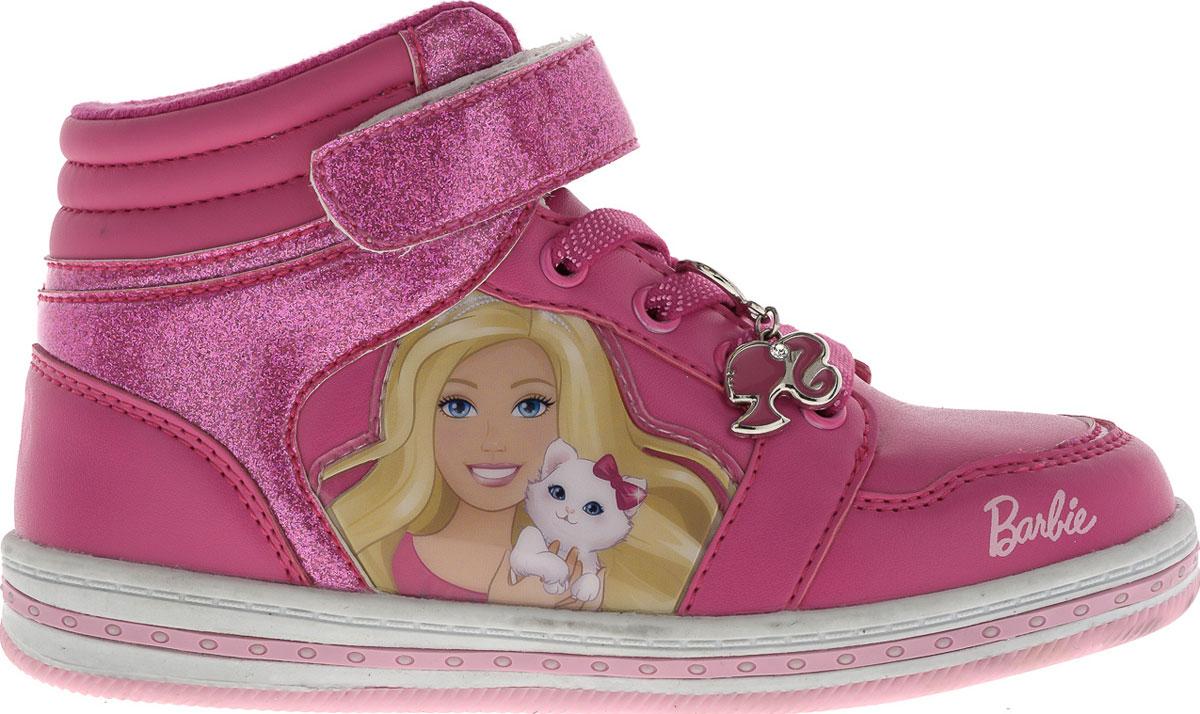 Ботинки для девочки Barbie. 5799A5799AПрелестные ботинки Barbie от Kakadu очаруют вашу дочурку с первого взгляда! Модель выполнена из синтетической кожи. Обувь оформлена сбоку нашивкой из ПВХ с изображением прекрасной Барби, на язычке - текстильной нашивкой. Шнуровка декорирована подвеской из металла в виде логотипа Barbie. Ремешок с застежкой-липучкой и эластичная шнуровка на подъеме гарантируют оптимальную посадку изделия. Амортизирующая стелька с антибактериальной пропиткой обладает высокой воздухопроницаемостью, прекрасно впитывает лишнюю влагу, нейтрализует неприятный запах и придает дополнительный комфорт при ходьбе. Подошва с рифлением в виде оригинального рисунка обеспечивает идеальное сцепление с любой поверхностью. Эффектные ботинки приведут в восторг вашу маленькую модницу!