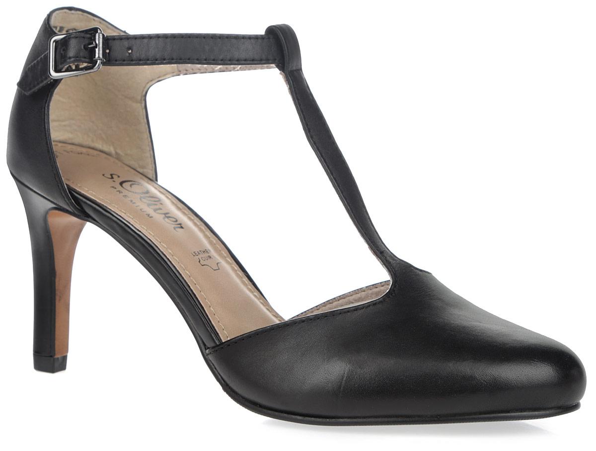 Туфли женские. 5-5-24401-26-0225-5-24401-26-022Потрясающие туфли от S.Oliver не оставят равнодушной настоящую модницу! Модель выполнена из натуральной кожи и оформлена Т-образным ремешком на подъеме. Чуть заостренный носок смотрится невероятно женственно. Ремешок с металлической пряжкой отвечает за надежную фиксацию модели на ноге. Мягкая стелька из искусственной кожи гарантирует комфорт при ходьбе. Высокий каблук и подошва с рифлением обеспечивают идеальное сцепление с любыми поверхностями. Элегантные туфли внесут изысканные нотки в ваш образ и подчеркнут вашу утонченную натуру.