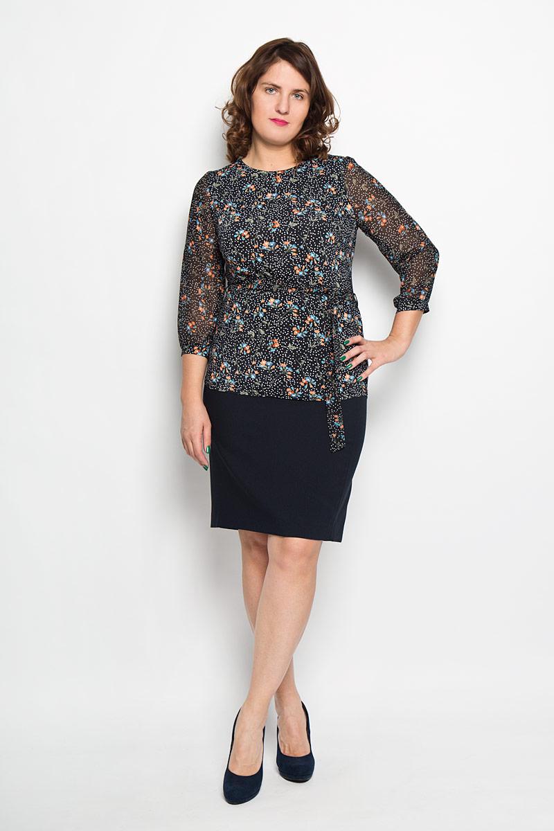 Блузка872Женская блуза Milana Style, выполненная из высококачественного материала, - находка для современной женщины, желающей выглядеть стильно и модно. Модель имеет круглый вырез горловины и полупрозрачные рукава 3/4. Оформлено изделие изображениями цветов и принтом в горох. Такая модель несомненно вам понравится и послужит отличным дополнением к вашему гардеробу. К изделию прилагается пояс. Длина пояса: 164 см.