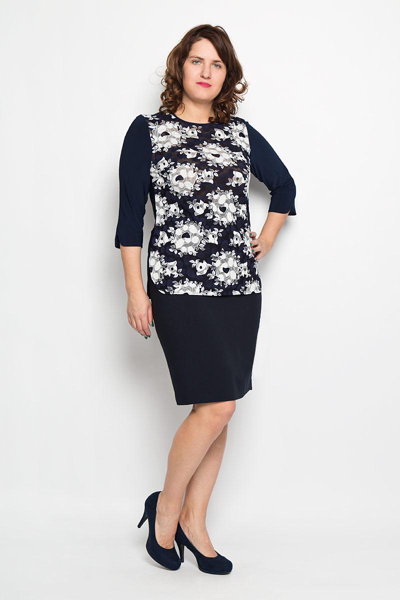 Блуза женская. 850м850мСимпатичная женская блуза Milana Style, выполненная из высококачественного материала, - находка для современной женщины, желающей выглядеть стильно и модно. Модель имеет круглый вырез горловины и рукава 3/4. Спереди изделие оформлено гипюровой вставкой с цветочным узором. На спинке блуза декорирована пуговицами. Такая модель несомненно вам понравится и послужит отличным дополнением к вашему гардеробу.