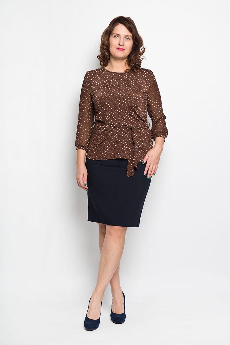 Блуза женская. 872872Женская блуза Milana Style, выполненная из высококачественного материала, - находка для современной женщины, желающей выглядеть стильно и модно. Модель имеет круглый вырез горловины и полупрозрачные рукава 3/4. Оформлено изделие принтом в горох. Такая модель несомненно вам понравится и послужит отличным дополнением к вашему гардеробу. К изделию прилагается пояс. Длина пояса: 164 см.