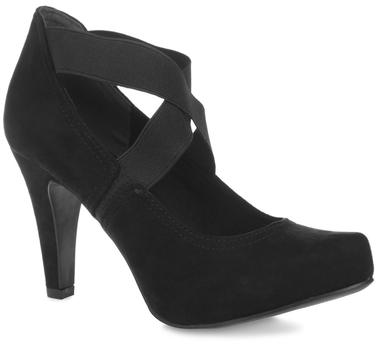 2-2-24404-26-001Стильные женские туфли от Marco Tozzi покорят вас с первого взгляда. Модель выполнена из текстиля под замшу. Подъем дополнен резинками, которые обеспечиваю надежную фиксацию модели на ноге. Подкладка изготовлена из текстиля и искусственных материалов. Стелька из искусственной кожи обеспечит комфорт при движении. Высокий каблук компенсирован скрытой платформой. Подошва с рифлением обеспечивает отличное сцепление с поверхностью. Стильные туфли станут прекрасным завершением вашего модного образа.