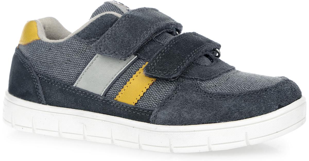 Кроссовки для мальчика. 7318773187-1Стильные и удобные кроссовки от Kapika придутся по душе вашему мальчику. Модель, изготовленная из текстиля, дополнена вставками из натуральной замши и нубука. Язычок оформлен фирменной нашивкой. Ремешки с застежками-липучками прочно закрепят обувь на ноге. Внутренняя поверхность из текстиля комфортна при движении. Стелька из EVA материала с поверхностью из натуральной кожи, дополненная перфорацией, обеспечивает сохранение комфортного микроклимата обуви, правильное формирование стопы, снижение общей утомляемости ног, отличную амортизацию, поглощение влаги и неприятных запахов. Рифление на подошве гарантирует отличное сцепление с любой поверхностью. Удобные кроссовки - незаменимая вещь в гардеробе каждого ребенка.