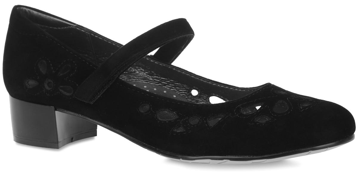Туфли для девочки. 94017-294017-2Сногсшибательные туфли от Kapika очаруют вашу дочурку с первого взгляда! Модель выполнена из искусственной замши и оформлена фигурной перфорацией. Подкладка из натуральной кожи позволяет ногам дышать. Ремешок на застежке-липучке отвечает за надежную фиксацию изделия на ноге. Стелька из натуральной кожи дополнена супинатором, который обеспечивает правильное положение ноги ребенка при ходьбе, предотвращает плоскостопие. Рифленая поверхность каблука и подошвы обеспечивает идеальное сцепление с любой поверхностью. Удобные и модные туфли - незаменимая вещь в гардеробе каждой девочки.