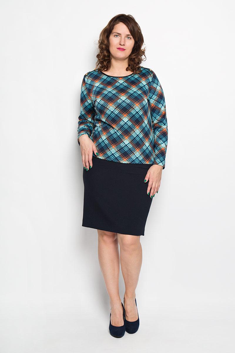 Блузка женская. 15541554Женская блузка Milana Style, выполненная из высококачественного материала, - находка для современной женщины, желающей выглядеть стильно и модно. Модель с круглым вырезом горловины оформлена принтом в клетку. Плечи декорированы пуговицами. Такая модель несомненно вам понравится и послужит отличным дополнением к вашему гардеробу.