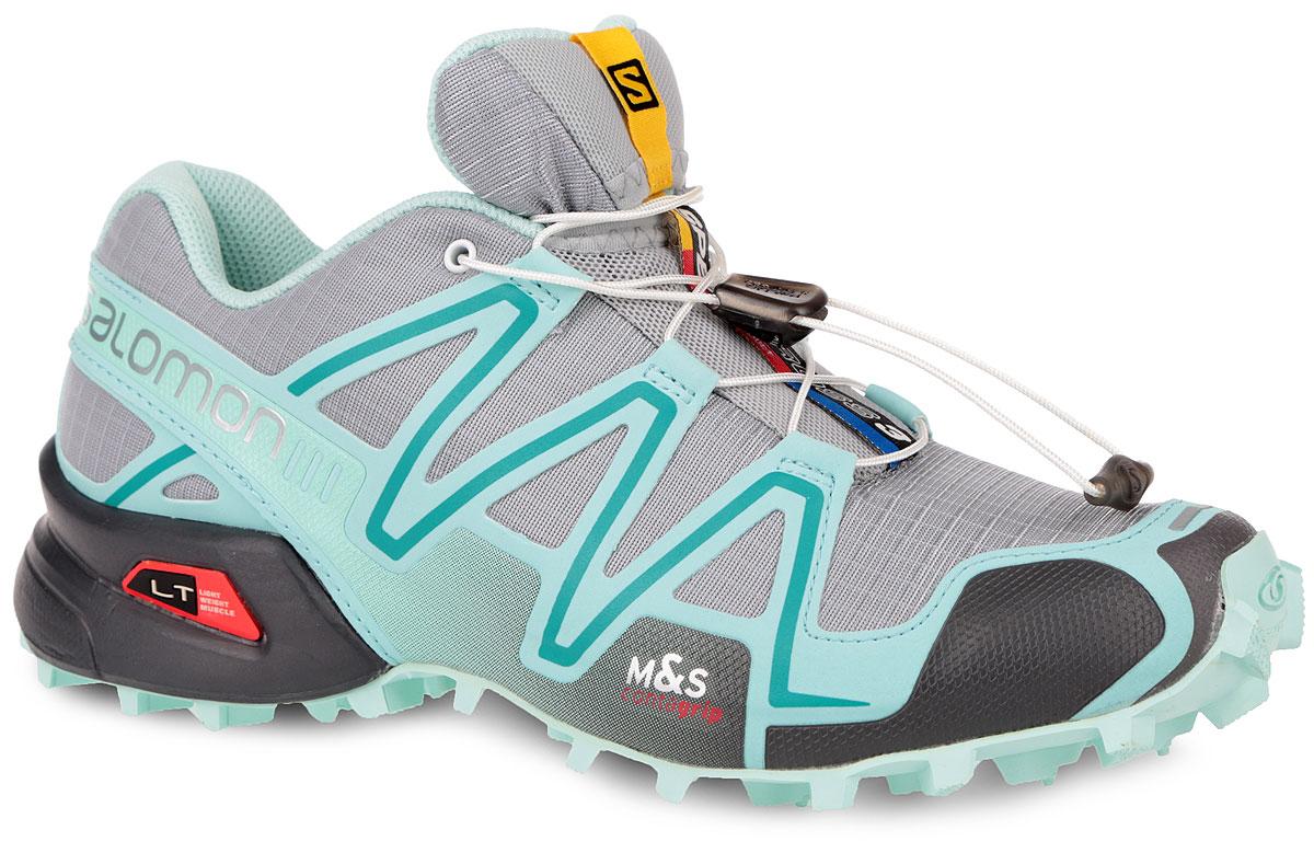 Кроссовки для бега женские Speedcross 3. 373208373208Легендарные беговые кроссовки от Salomon Speedcross 3 выполнены на 64,6% из синтетического материала и на 35,4% из текстиля. Конструкция верха Sensifit с пропиткой Mudguard не пропускает грязь и воду. Подъем оформлен шнуровкой с фиксатором, благодаря которой обувь сидит плотно на ноге, и дополнен кармашком для шнурков. Стелька Ortholite из ЭВА материала с текстильным верхним покрытием создает более прохладное и сухое пространство под стопой. Мягкая верхняя часть и подкладка, изготовленная из текстиля, обеспечивают дополнительный комфорт и предотвращают натирание. По бокам модель декорирована оригинальным принтом и тиснением, язычок дополнен текстильной нашивкой с символикой бренда. Светоотражающие элементы обеспечат лучшую видимость в темное время суток. Подошва Contagrip не оставляет следов и обеспечивает отличное сцепление со скользкой поверхностью. Такие кроссовки займут достойное место в коллекции вашей спортивной обуви.