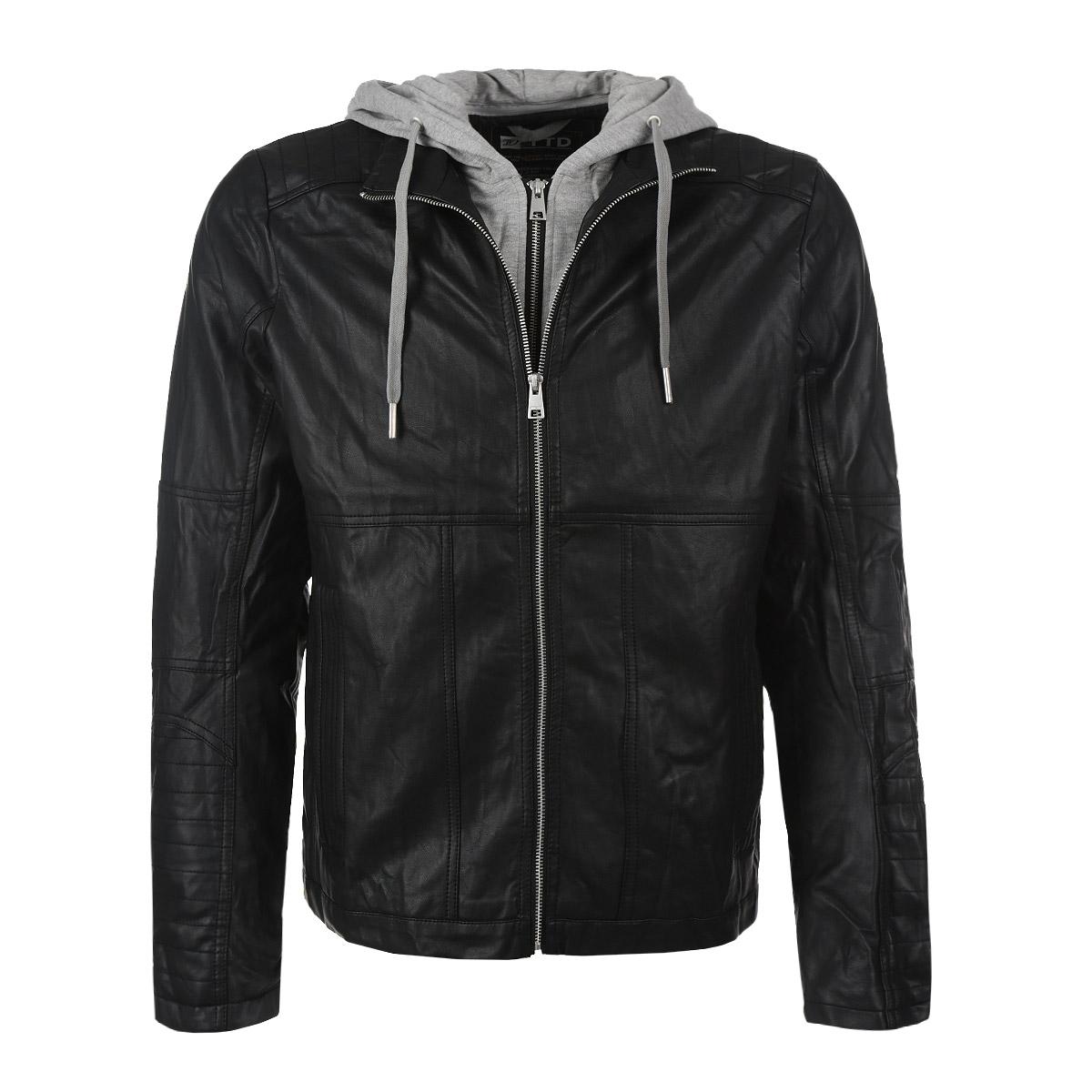 Куртка мужская. 3721950.00.123721950.00.12Стильная мужская куртка Tom Tailor Denim выполнена из высококачественной искусственной матовой кожи с подкладкой из полиэстера и рассчитана на прохладную погоду. Куртка поможет вам почувствовать себя максимально комфортно и стильно. Модель с длинными рукавами и воротником-стойкой застегивается на металлическую застежку-молнию. Куртка дополнена съемным трикотажным капюшоном на кулиске и планкой вдоль застежки, имитирующей толстовку на молнии, которые при желании можно отстегнуть. Манжеты декорированы металлическими молниями. Куртка дополнена двумя втачными карманами и потайным кармашком на кнопке, расположенным с внутренней стороны изделия. Модный дизайн и практичность - отличный выбор на каждый день!