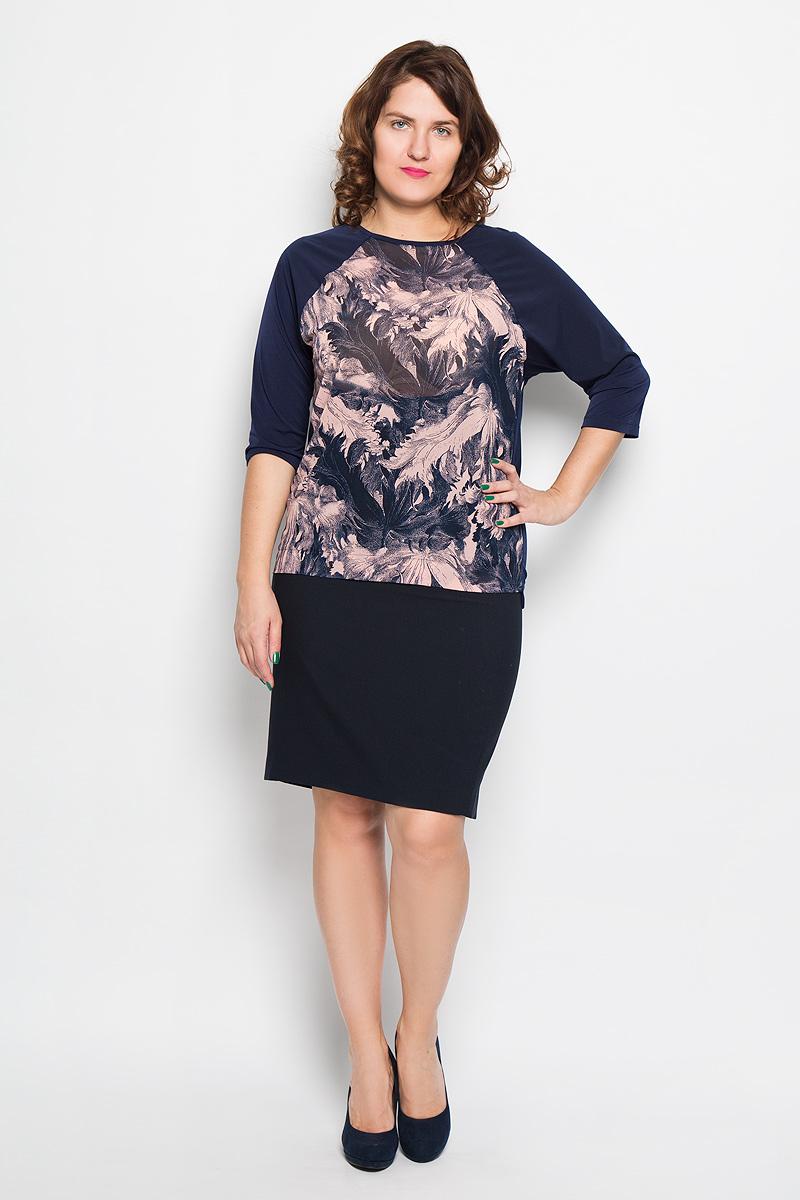 Блузка1852Блузка Milana Style подчеркнет ваш уникальный стиль и поможет создать оригинальный женственный образ. Она изготовлена из высококачественных материалов, мягкая и приятная на ощупь, не сковывает движения, хорошо вентилируется. Вставка спереди выполнена из полупрозрачной ткани. Модель с круглым вырезом горловины и рукавами-реглан длиной 1/2 оформлена спереди цветочным принтом. Спинка изделия удлинена. Такая блузка будет дарить вам комфорт в течение всего дня, а также послужит замечательным дополнением к гардеробу.