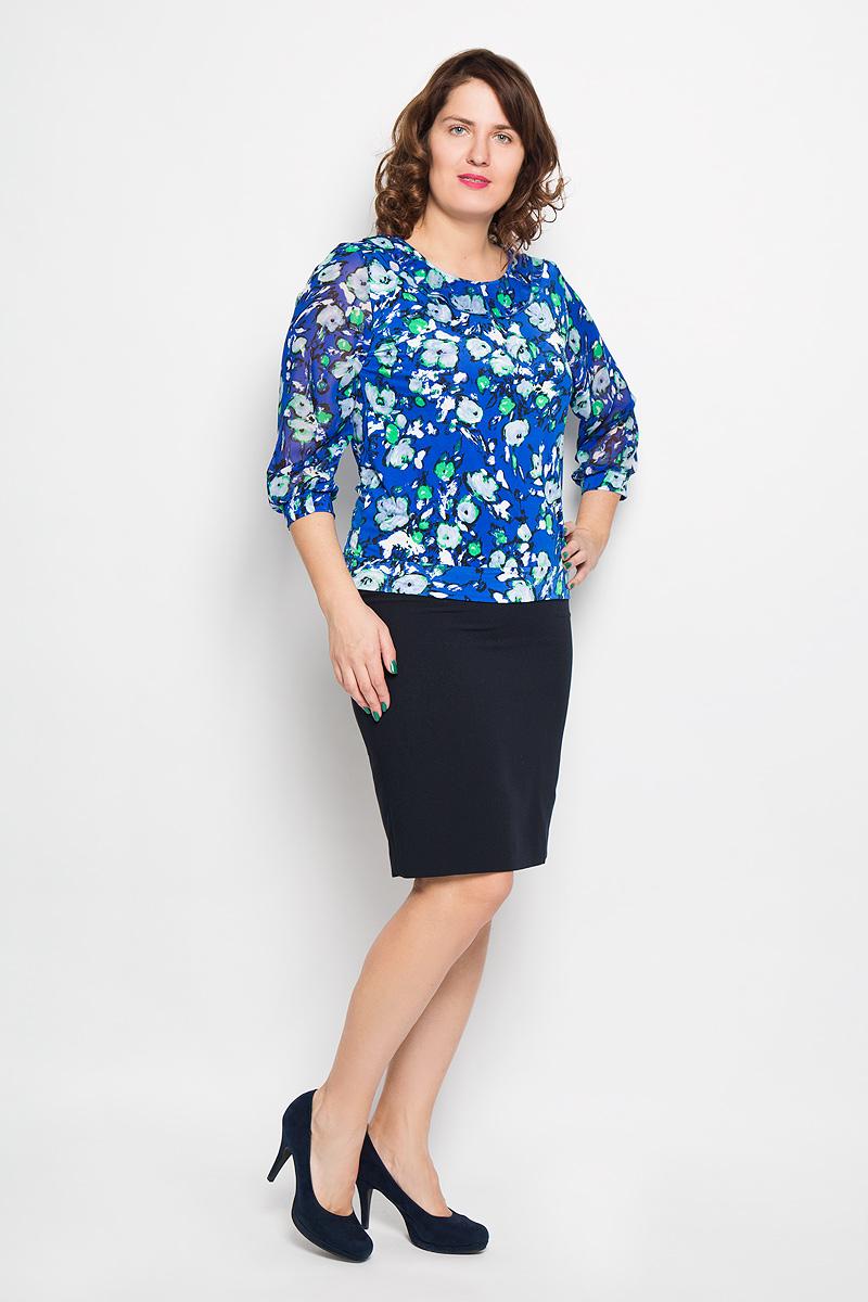 Блузка женская. 18681868Яркая блузка Milana Style, изготовленная из синтетического материала ПАН с добавлением эластана, подчеркнет ваш уникальный стиль. Материал легкий, мягкий и приятный на ощупь, не сковывает движения и хорошо вентилируется. Блузка с круглым вырезом горловины и рукавами 3/4 оформлена цветочным принтом по всей поверхности. Вырез горловины украшен двойной оборкой. Рукава выполнены из полупрозрачной легкой ткани и собраны в эластичные манжеты. Такая блузка будет дарить вам комфорт в течение всего дня и послужит замечательным дополнением к гардеробу.