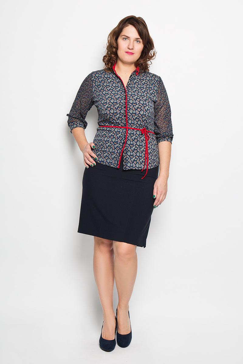 Блузка1494-723Стильная блузка Milana Style, изготовленная из синтетического материала ПАН с добавлением эластана, подчеркнет ваш уникальный стиль. Материал очень легкий, мягкий и приятный на ощупь, не сковывает движения и хорошо вентилируется. Блузка с воротником-стойкой и рукавами 3/4 оформлена декоративной планкой с пуговицами по всей длине. Рукава выполнены из полупрозрачной легкой ткани и собраны в эластичные манжеты. Воротник украшен отворотами, которые фиксируются пуговицами. По всей поверхности изделие оформлено мелким принтом с узорами. Модель дополнена тонким текстильным поясом. Такая блузка будет дарить вам комфорт в течение всего дня и послужит замечательным дополнением к гардеробу.
