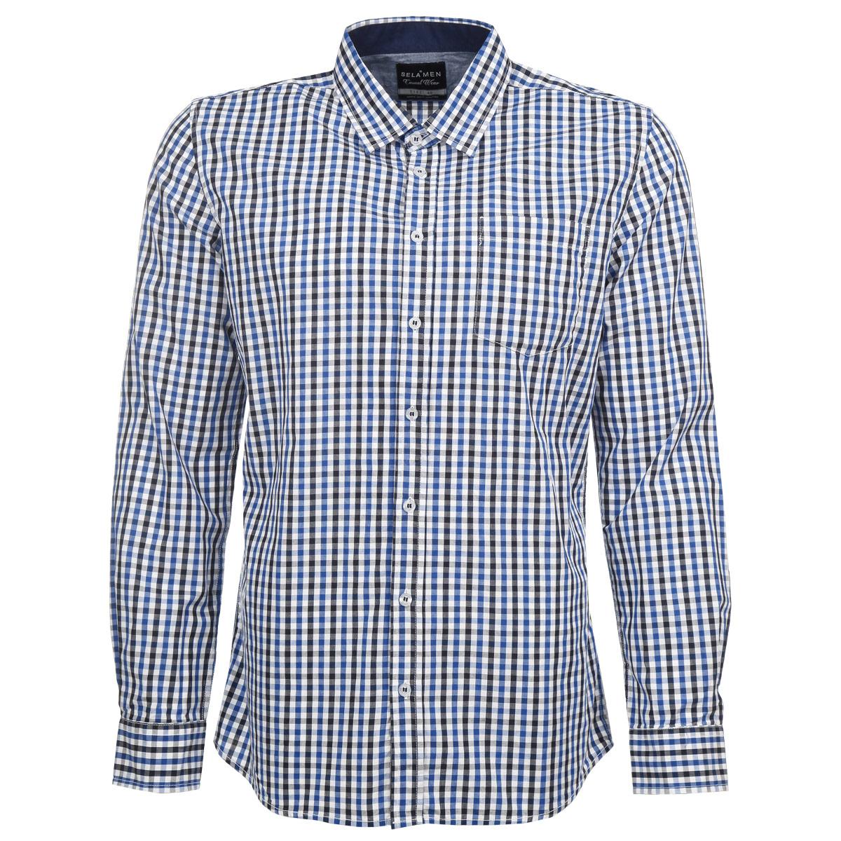 Рубашка мужская. H-212/203-5322H-212/203-5322Стильная мужская рубашка Sela, выполненная из высококачественного хлопкового материала, обладает высокой теплопроводностью, воздухопроницаемостью и гигроскопичностью. Рубашка прямого кроя с длинными рукавами, полукруглым низом и отложным воротником застегивается на пуговицы. Модель оформлена принтом в клетку. На груди изделие дополнено накладным карманом. Такая рубашка будет дарить вам комфорт в течение всего дня и послужит замечательным дополнением к вашему гардеробу.