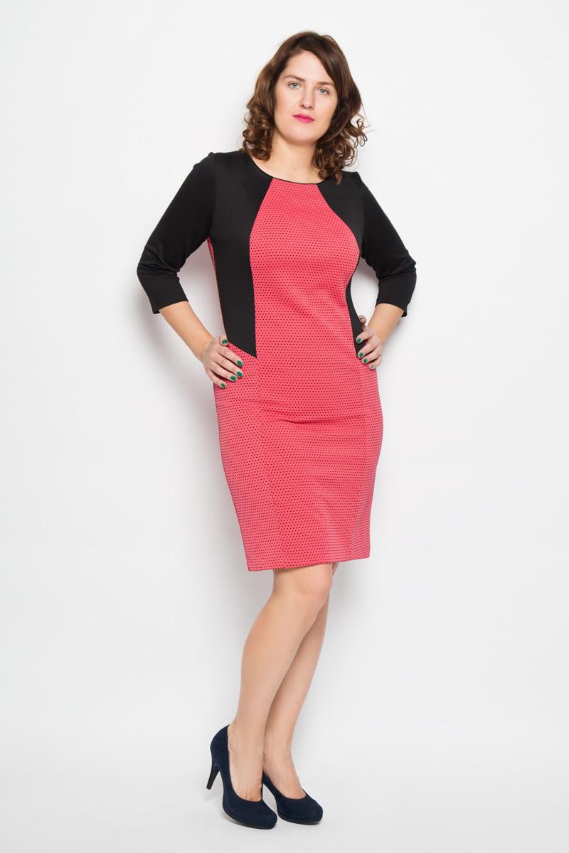 1757Яркое платье Milana Style поможет создать оригинальный женственный образ. Благодаря составу, в который входит мягкая эластичная вискоза и ПАН, платье очень приятное на ощупь, не сковывает движений, обеспечивая комфорт. Модель с круглым вырезом горловины и рукавами 3/4 украшена мелким контрастным принтом. Отделка верхней части изделия создает эффект 2 в 1 (жакет и платье), а также выгодно подчеркнет достоинства женской фигуры. Такое платье станет модным и стильным дополнением к вашему гардеробу!