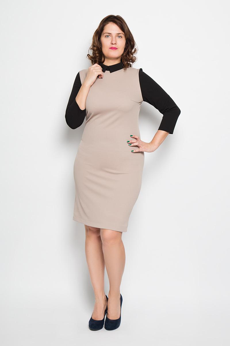 Платье. 17611761Платье Milana Style поможет создать стильный женственный образ. Благодаря составу, в который входит ПАН и эластан, платье мягкое и приятное на ощупь, не сковывает движений, обеспечивая комфорт. Модель с отложным воротником и рукавами 3/4 застегивается сзади на пуговицу. Такое платье станет модным дополнением к вашему гардеробу, а также подчеркнет ваш уникальный стиль!