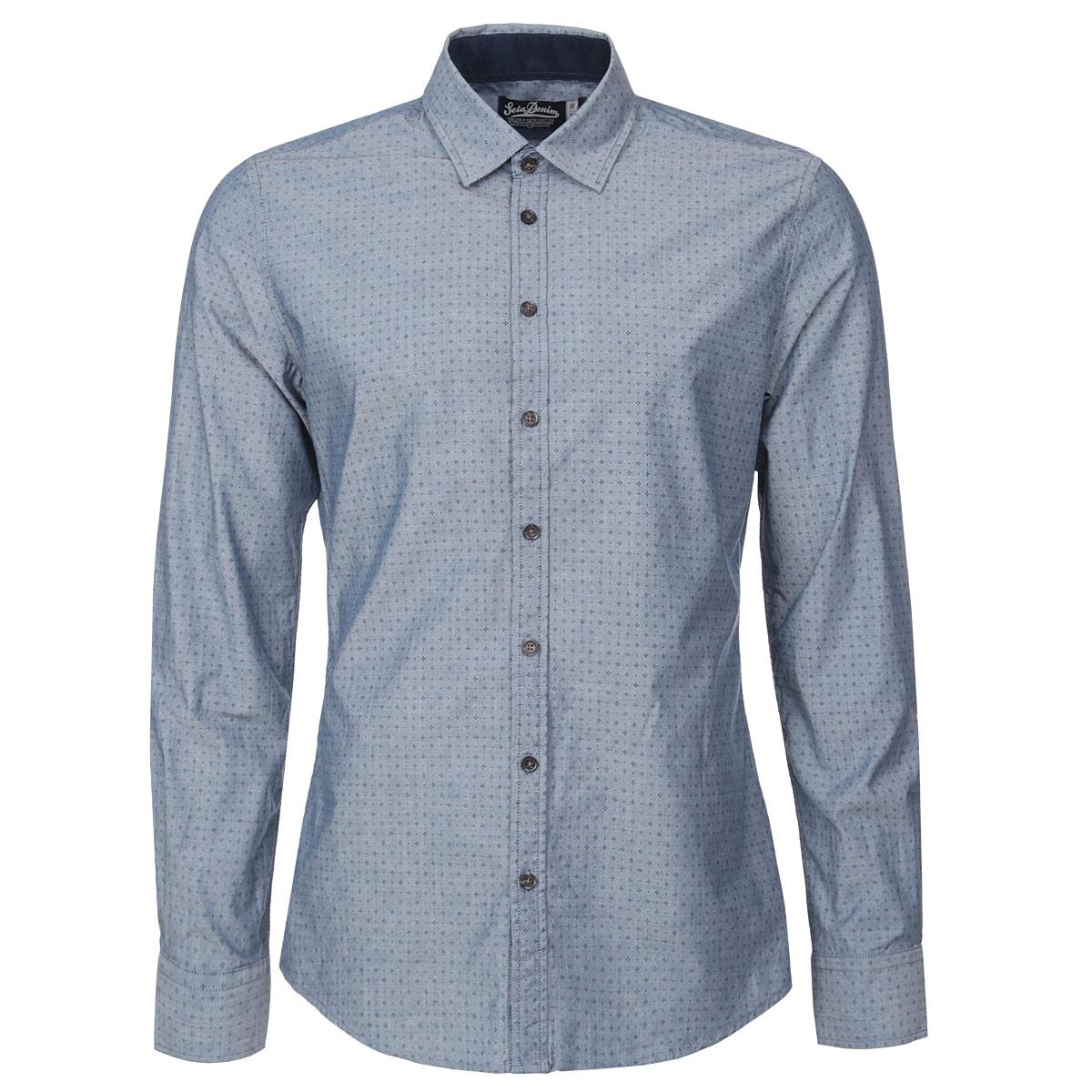 Рубашка мужская. H-212/220-5311H-212/220-5311Модная мужская рубашка Sela займет достойное место в вашем гардеробе. Модель выполнена из натурального хлопка, необычайно мягкого и приятного на ощупь, не сковывает движения и позволяет коже дышать. Рубашка прямого кроя, с отложным воротником, длинными рукавами и полукруглым низом застегивается на пуговицы по всей длине изделия. Модель оформлена стильным орнаментом. Широкие манжеты также застегиваются на пуговицы. В такой рубашке вам будет комфортно и уютно. Отличный выбор на каждый день!