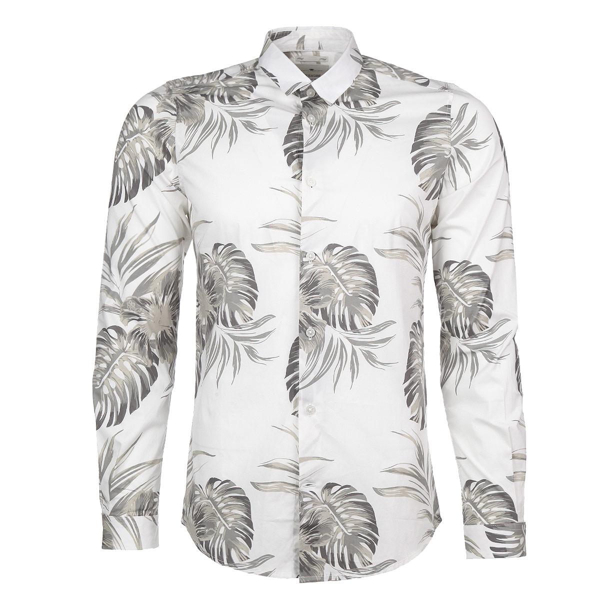 Рубашка мужская. 2029998.00.152029998.00.15_2000Модная мужская рубашка Tom Tailor станет прекрасным дополнением к вашему гардеробу. Рубашка выполнена из хлопка с небольшим добавлением эластана, обладает высокой теплопроводностью, воздухопроницаемостью и гигроскопичностью, позволяет коже дышать, тем самым обеспечивая наибольший комфорт при носке даже жарким летом. Модель зауженного кроя с длинными рукавами, отложным воротником и полукруглым низом застегивается на пуговицы. Рукава дополнены широкими манжетами на пуговицах. Рубашка оформлена эффектным принтом с изображением пальмовых листьев. Такая рубашка будет дарить вам комфорт в течение всего дня.