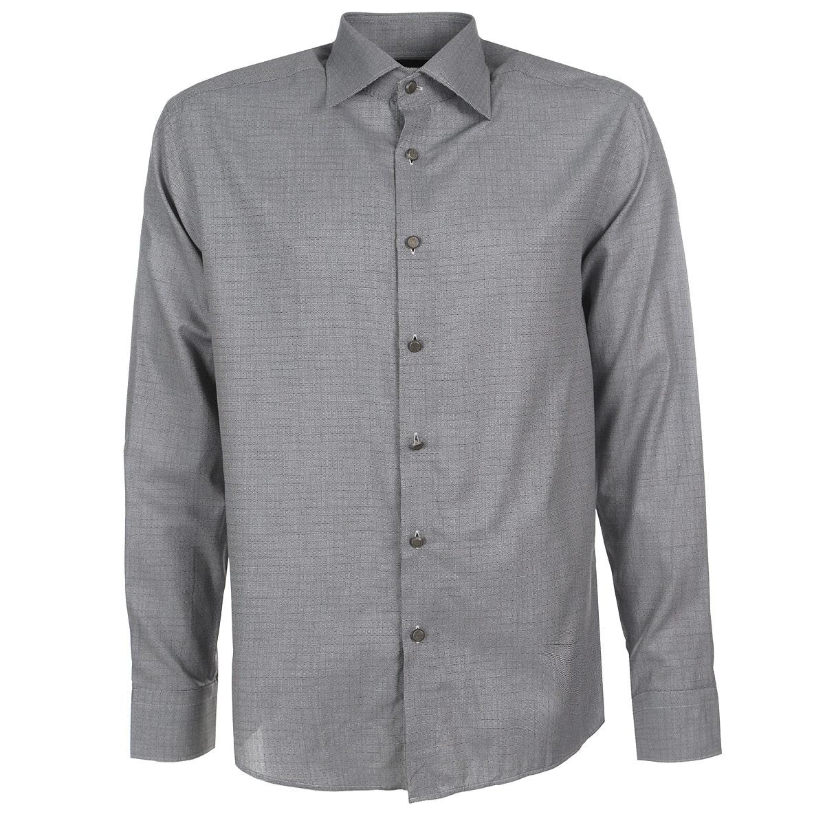Рубашка мужская. 580004580004Мужская рубашка Mondigo, выполненная из высококачественного хлопка, обладает высокой теплопроводностью, воздухопроницаемостью и гигроскопичностью, позволяет коже дышать, тем самым обеспечивая наибольший комфорт при носке. Рубашка прямого кроя с отложным воротником застегивается на пуговицы. Длинные рукава рубашки дополнены манжетами на пуговицах. Рубашка оформлена оригинальным геометрическим принтом с изображением мелких квадратов. Такая рубашка подчеркнет ваш вкус и поможет создать великолепный современный образ.