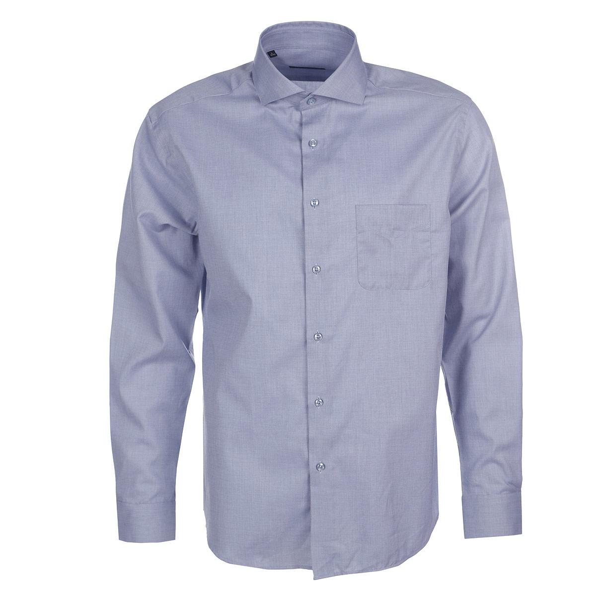 Рубашка мужская. 501019501019Элегантная мужская рубашка Mondigo станет прекрасным дополнением к вашему гардеробу. Она выполнена из натурального хлопка, обладает высокой теплопроводностью, воздухопроницаемостью и гигроскопичностью, позволяет коже дышать, тем самым обеспечивая наибольший комфорт при носке даже жарким летом. Модель силуэта slim fit с длинными рукавами и строгим отложным воротником застегивается на пуговицы. На груди изделие дополнено накладным карманом. Рукава дополнены широкими манжетами, зауженными к краям. Изделие оформлено фактурным рисунком. Спокойная однотонная расцветка позволяет сочетать рубашку с пиджаками и костюмами различных цветов. Она будет дарить вам комфорт в течение всего дня.