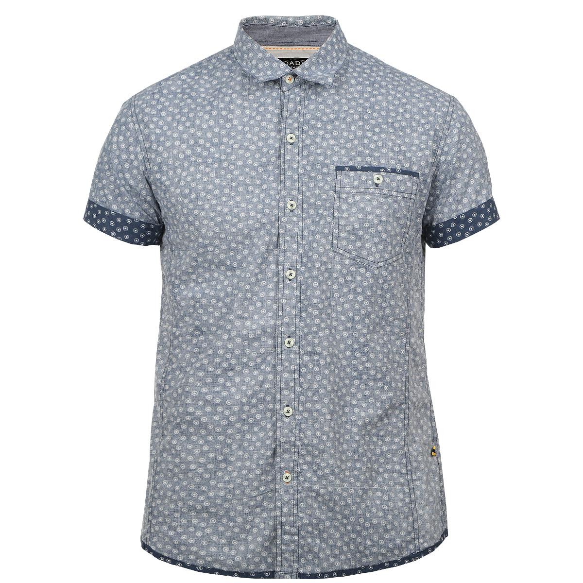 Рубашка10152560 51AОтличная мужская рубашка Broadway с принтом, выполненная из хлопка, обладает высокой теплопроводностью, воздухопроницаемостью и гигроскопичностью, позволяет коже дышать, тем самым обеспечивая наибольший комфорт при носке даже самым жарким летом. Рубашка приталенного кроя с короткими рукавами, полукруглым низом, отложным воротником застегивается на пуговицы. Рубашка дополнена на груди накладным карманом на пуговице. Такая рубашка будет дарить вам комфорт в течение всего дня и послужит замечательным дополнением к вашему летнему гардеробу.