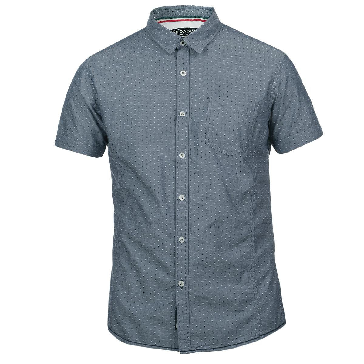 Рубашка мужская. 1015230810152308 51EОтличная мужская рубашка Broadway, выполненная из хлопка, обладает высокой теплопроводностью, воздухопроницаемостью и гигроскопичностью, позволяет коже дышать, тем самым обеспечивая наибольший комфорт при носке даже самым жарким летом. Рубашка приталенного кроя с короткими рукавами, полукруглым низом, отложным воротником застегивается на пуговицы. Рубашка дополнена на груди накладным карманом. Рукава декорированы контрастными отворотами. Такая рубашка будет дарить вам комфорт в течение всего дня и послужит замечательным дополнением к вашему летнему гардеробу.