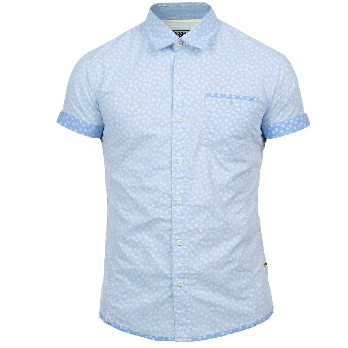 Рубашка мужская. 1015256010152560 51AОтличная мужская рубашка Broadway с принтом, выполненная из хлопка, обладает высокой теплопроводностью, воздухопроницаемостью и гигроскопичностью, позволяет коже дышать, тем самым обеспечивая наибольший комфорт при носке даже самым жарким летом. Рубашка приталенного кроя с короткими рукавами, полукруглым низом, отложным воротником застегивается на пуговицы. Рубашка дополнена на груди накладным карманом на пуговице. Такая рубашка будет дарить вам комфорт в течение всего дня и послужит замечательным дополнением к вашему летнему гардеробу.