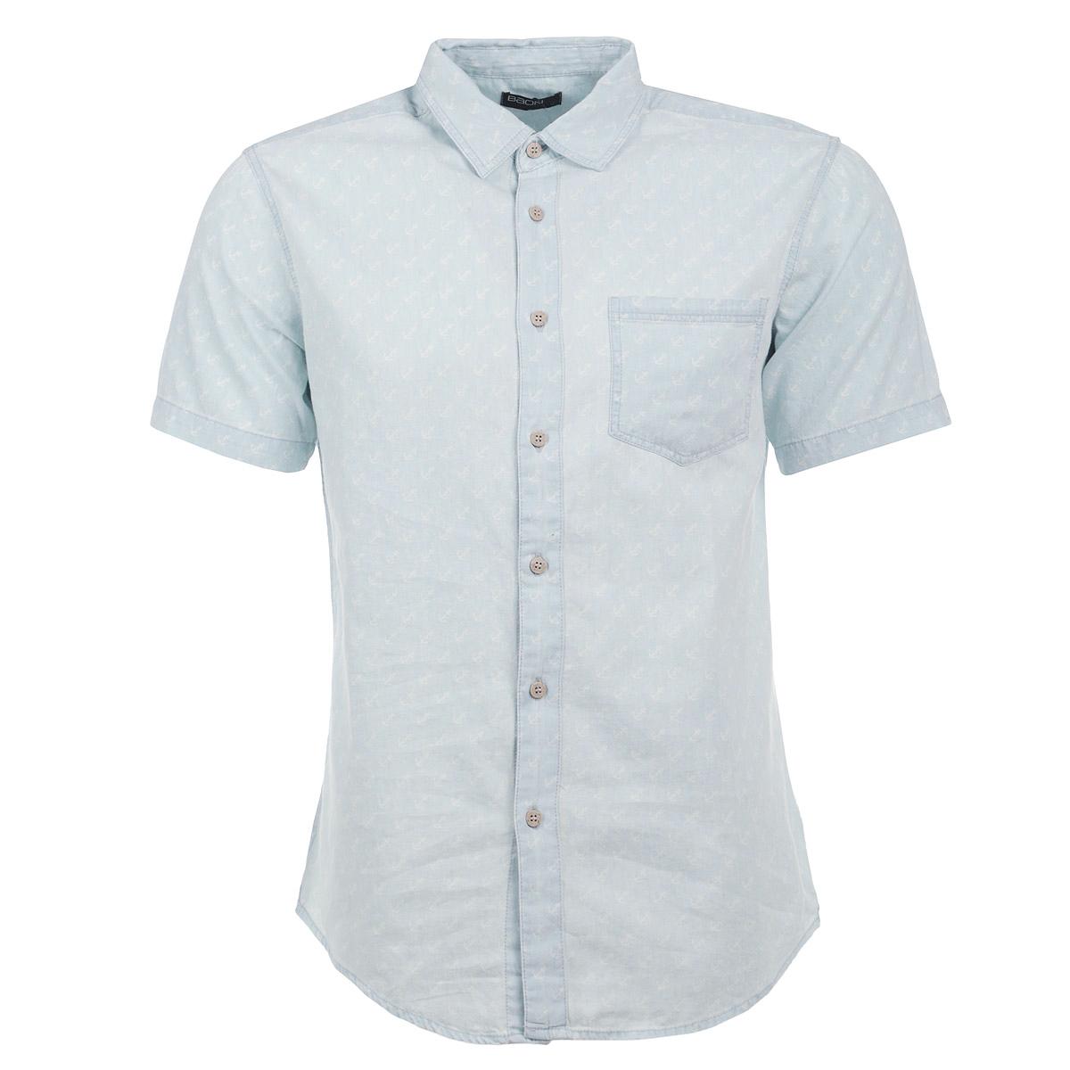 Рубашка мужская. B685022B685022Стильная мужская рубашка Baon, изготовленная из высококачественного материала, необычайно мягкая и приятная на ощупь, не сковывает движения и позволяет коже дышать, обеспечивая наибольший комфорт. Модная рубашка прямого кроя с короткими рукавами, отложным воротником и полукруглым низом, застегивается на пуговицы. Модель дополнена на груди накладным карманом. Эта рубашка идеальный вариант для повседневного гардероба. Такая модель порадует настоящих ценителей комфорта и практичности!