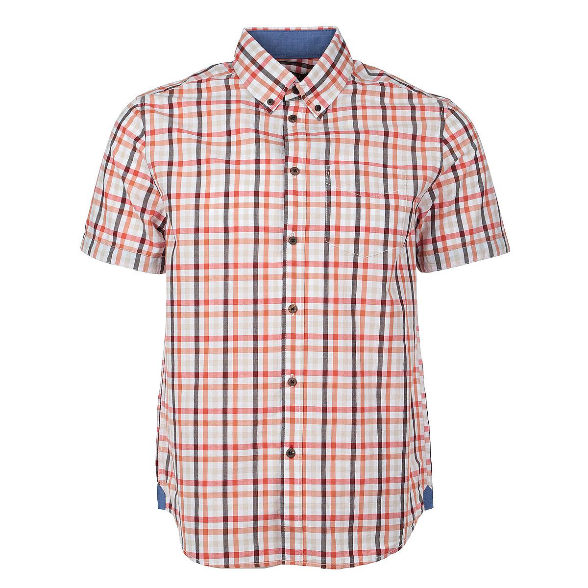 Рубашка мужская. B685001B685001Стильная мужская рубашка Baon, изготовленная из высококачественного материала, необычайно мягкая и приятная на ощупь, не сковывает движения и позволяет коже дышать, обеспечивая наибольший комфорт. Модная рубашка прямого кроя с короткими рукавами, отложным воротником и полукруглым низом. Застегивается изделие на пуговицы. На груди рубашка дополнена накладным карманом. Эта рубашка идеальный вариант для повседневного гардероба. Такая модель порадует настоящих ценителей комфорта и практичности!