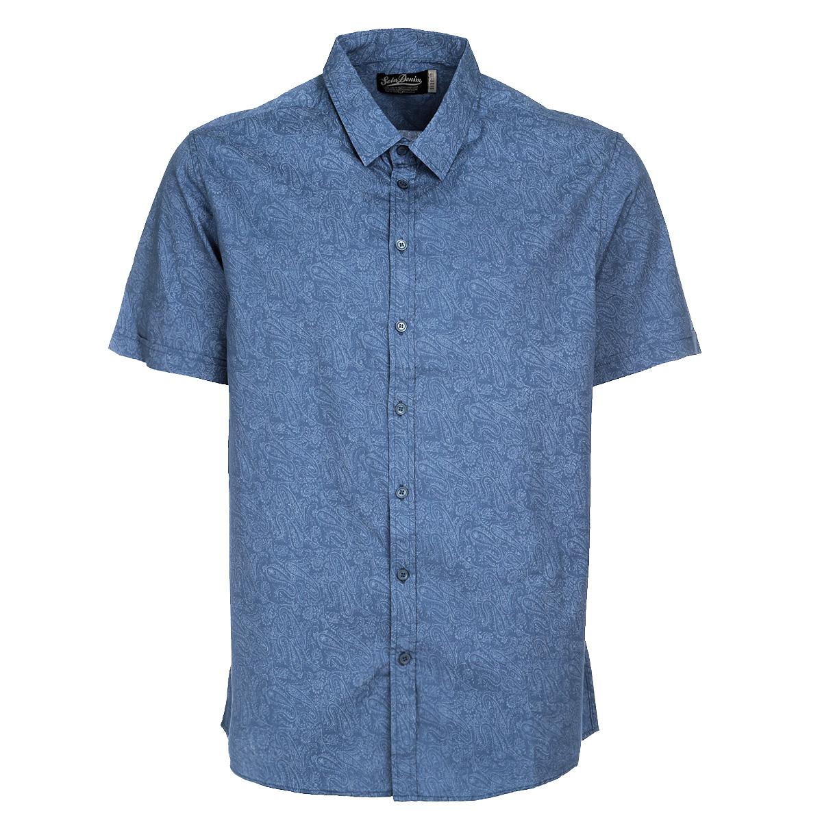 Рубашка мужская. Hs-212/140-5244Hs-212/140-5244Стильная рубашка Sela с короткими рукавами, отложным воротником и застежкой на пуговицы. Модель оформлена оригинальным принтом. Рубашка, выполненная из хлопка, обладает высокой теплопроводностью, воздухопроницаемостью и гигроскопичностью, позволяет коже дышать, тем самым обеспечивая наибольший комфорт при носке даже самым жарким летом. Такая рубашка будет дарить вам комфорт в течение всего дня и послужит замечательным дополнением к вашему гардеробу.