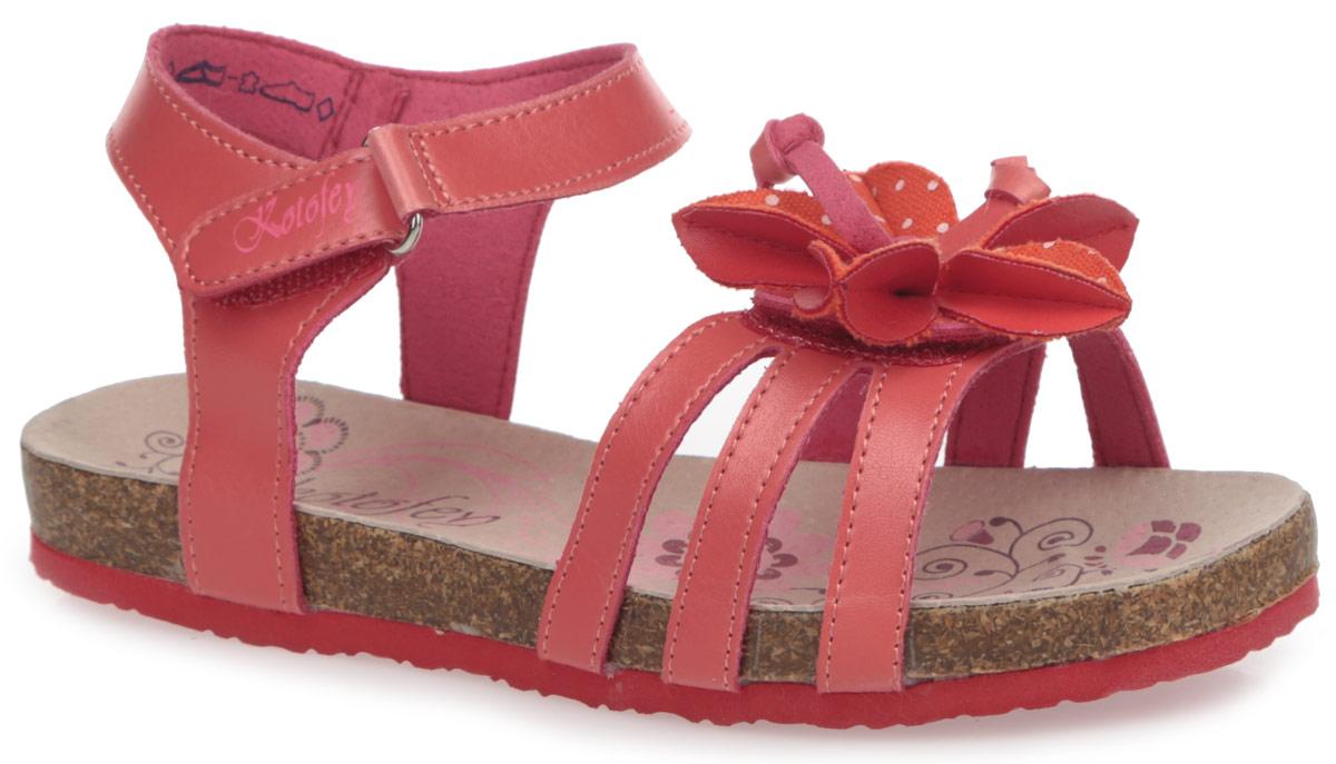 Сандалии для девочки. 523043523043-01Модные сандалии от Котофей не оставят равнодушной вашу девочку! Модель изготовлена из искусственной кожи и оформлена на мысе декоративным цветком. Ремешки с застежками-липучками, один из которых оформлен названием бренда, прочно закрепят обувь на ножке и отрегулируют нужный объем. Стелька из натуральной кожи комфортна при движении. Подошва с рифлением обеспечивает отличное сцепление с поверхностью. Практичные и стильные сандалии займут достойное место в гардеробе вашей девочки.