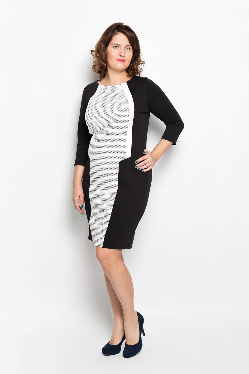 Платье. 1758-6341758-634Стильное платье Milana Style поможет создать оригинальный женственный образ. Благодаря составу, в который входит мягкая эластичная вискоза и ПАН, платье очень приятное на ощупь, не сковывает движений, обеспечивая комфорт. Модель с круглым вырезом горловины и рукавами 3/4 украшена мелким контрастным принтом. Такое платье станет модным дополнением к вашему гардеробу!