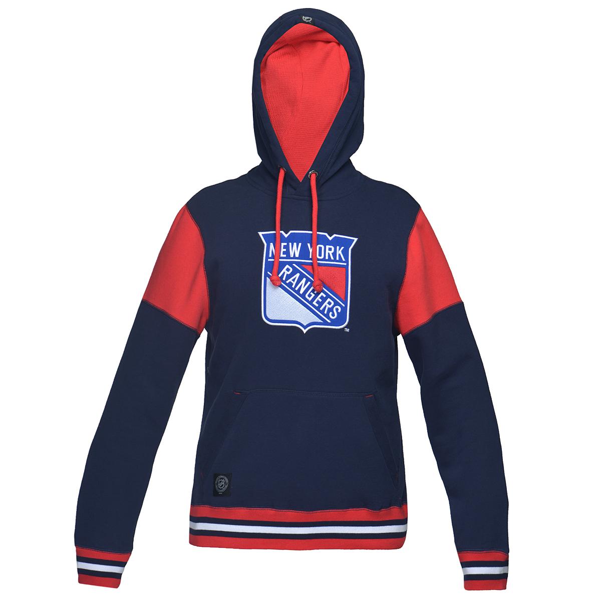 35020Теплая толстовка NHL New York Rangers, изготовленная из высококачественного хлопкового материала, необычайно мягкая и приятная на ощупь, не сковывает движения, обеспечивая наибольший комфорт. Толстовка с капюшоном на кулиске спереди имеет вместительный карман кенгуру. На груди оформлена вышивкой в виде эмблемы хоккейного клуба New York Rangers. Толстовка имеет широкую мягкую резинку по низу, что предотвращает проникновение холодного воздуха, и длинные рукава с широкими эластичными манжетами, не стягивающими запястья. Эта модная и в тоже время комфортная толстовка отличный вариант как для активного отдыха, так и для занятий спортом!