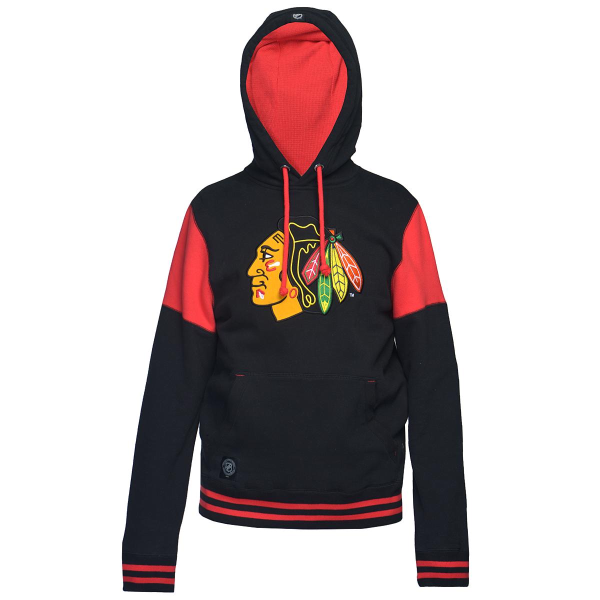 Толстовка мужская Chicago Blackhawks. 3503035040Теплая толстовка NHL Chicago Blackhawks, изготовленная из высококачественного хлопкового материала, необычайно мягкая и приятная на ощупь, не сковывает движения, обеспечивая наибольший комфорт. Толстовка с капюшоном на кулиске спереди имеет вместительный карман кенгуру. На груди оформлена вышивкой в виде эмблемы хоккейного клуба Chicago Blackhawks. Толстовка имеет широкую мягкую резинку по низу, что предотвращает проникновение холодного воздуха, и длинные рукава с широкими эластичными манжетами, не стягивающими запястья. Эта модная и в тоже время комфортная толстовка отличный вариант как для активного отдыха, так и для занятий спортом!