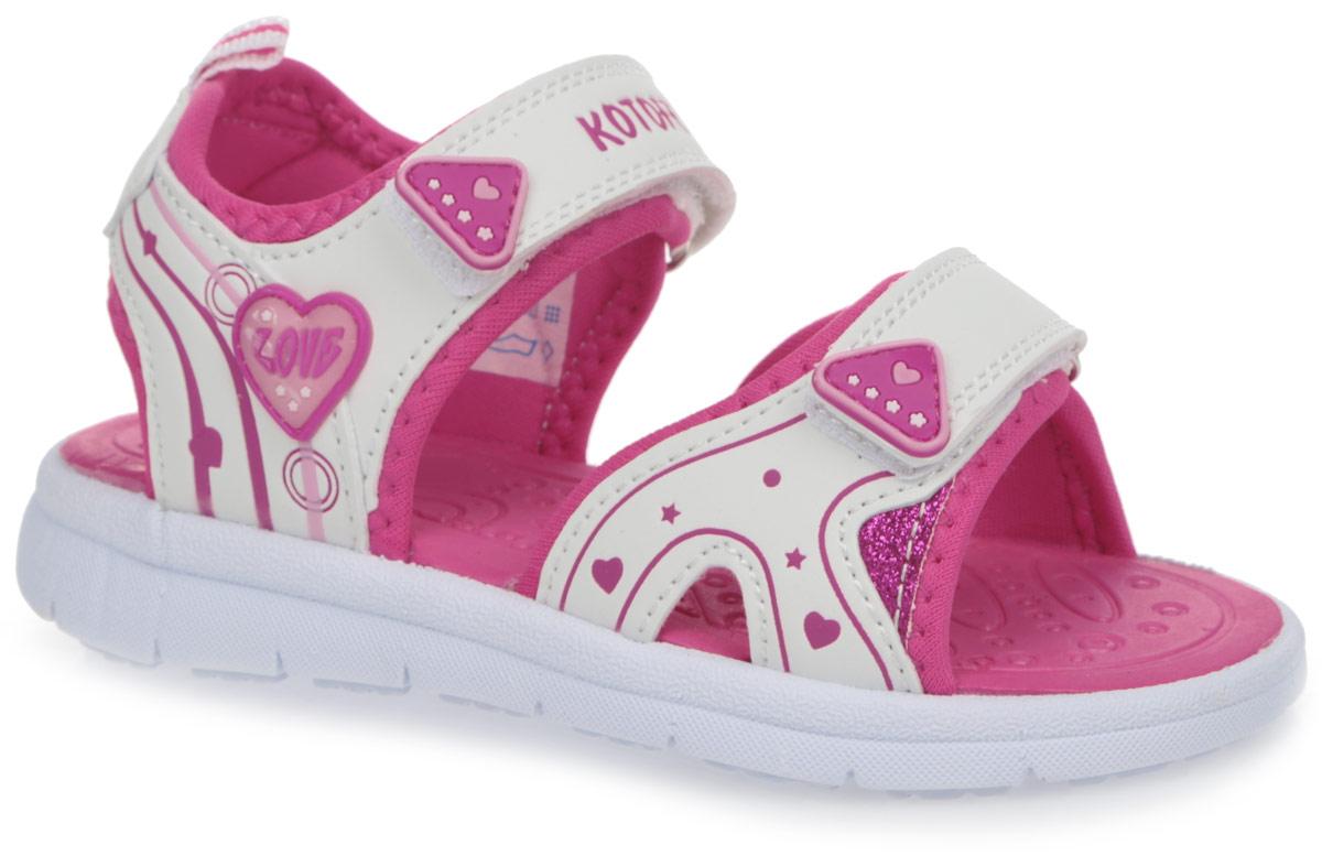 Сандалии для девочки. 523028-12523028-12Яркие сандалии от Котофей придутся по душе вашей девочке. Модель, выполненная из искусственной кожи и текстиля, оформлена тисненым рисунком и декоративными нашивками. Внутренняя поверхность выполнена из текстиля. Ремешки с застежками-липучками надежно зафиксируют модель на ноге. Стелька из EVA с рельефной поверхностью комфортна при движении. Ярлычок на заднике облегчает обувание модели. Удобная эластичная подошва хорошо гнется. Рифление на подошве обеспечивает сцепление с любой поверхностью. Практичные и стильные сандалии займут достойное место в гардеробе вашего ребенка.