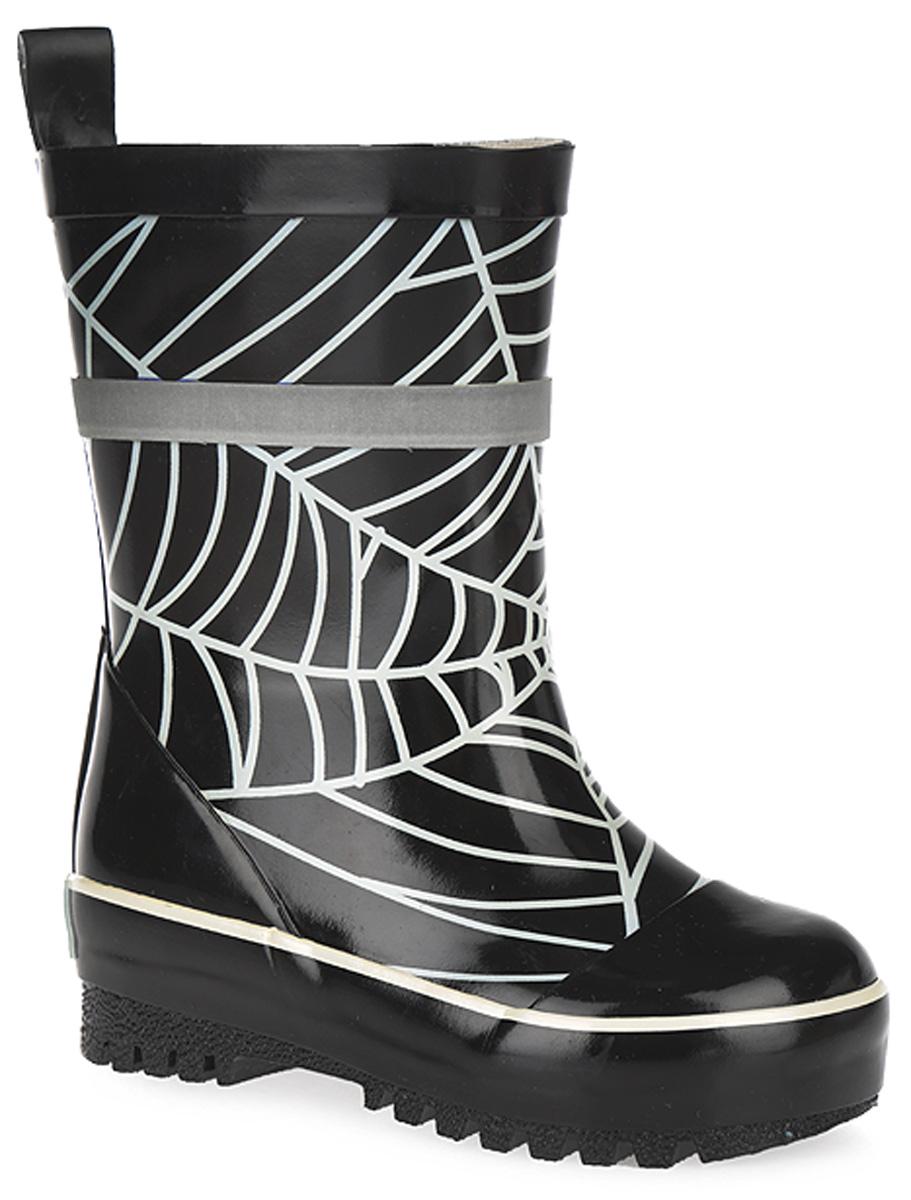 Сапоги для мальчика. 101509101509Прелестные резиновые сапоги от Bebendorff - идеальная обувь в дождливую погоду для вашего мальчика. Сапоги, выполненные из резины, оформлены изображением паутины, на заднике - названием бренда. Внутренняя поверхность из хлопка и съемная стелька из EVA с текстильной поверхностью комфортны при ходьбе. Ярлычок на заднике облегчает обувание модели. Светоотражающая полоска на голенище увеличивает безопасность вашего мальчика в темное время суток. Подошва с протектором гарантируют отличное сцепление с любой поверхностью. Резиновые сапоги - необходимая вещь в гардеробе каждого мальчика.