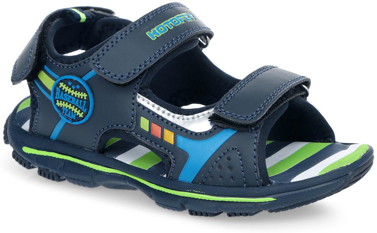 Сандалии для мальчика. 523045-11523045-11Модные сандалии от Котофей не оставят равнодушным вашего мальчика! Модель, изготовленная из искусственной кожи и текстиля, оформлена с одной из боковых сторон декоративной нашивкой. Ремешки с застежками-липучками, один из которых оформлен названием бренда, прочно закрепят модель на ножке и отрегулируют нужный объем. Подкладка выполнена из текстиля. Стелька, выполненная из EVA-материала с рельефной поверхностью, комфортна при ходьбе. Ярлычок на заднике облегчает обувание модели. Протектор подошвы обеспечивает отличное сцепление с любой поверхностью. Практичные и стильные сандалии займут достойное место в гардеробе вашего мальчика.