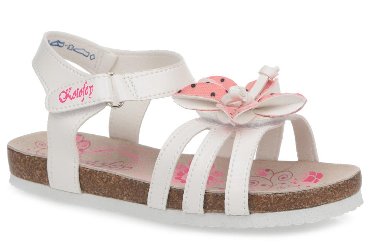 523043-01Модные сандалии от Котофей не оставят равнодушной вашу девочку! Модель изготовлена из искусственной кожи и оформлена на мысе декоративным цветком. Ремешки с застежками-липучками, один из которых оформлен названием бренда, прочно закрепят обувь на ножке и отрегулируют нужный объем. Стелька из натуральной кожи комфортна при движении. Подошва с рифлением обеспечивает отличное сцепление с поверхностью. Практичные и стильные сандалии займут достойное место в гардеробе вашей девочки.