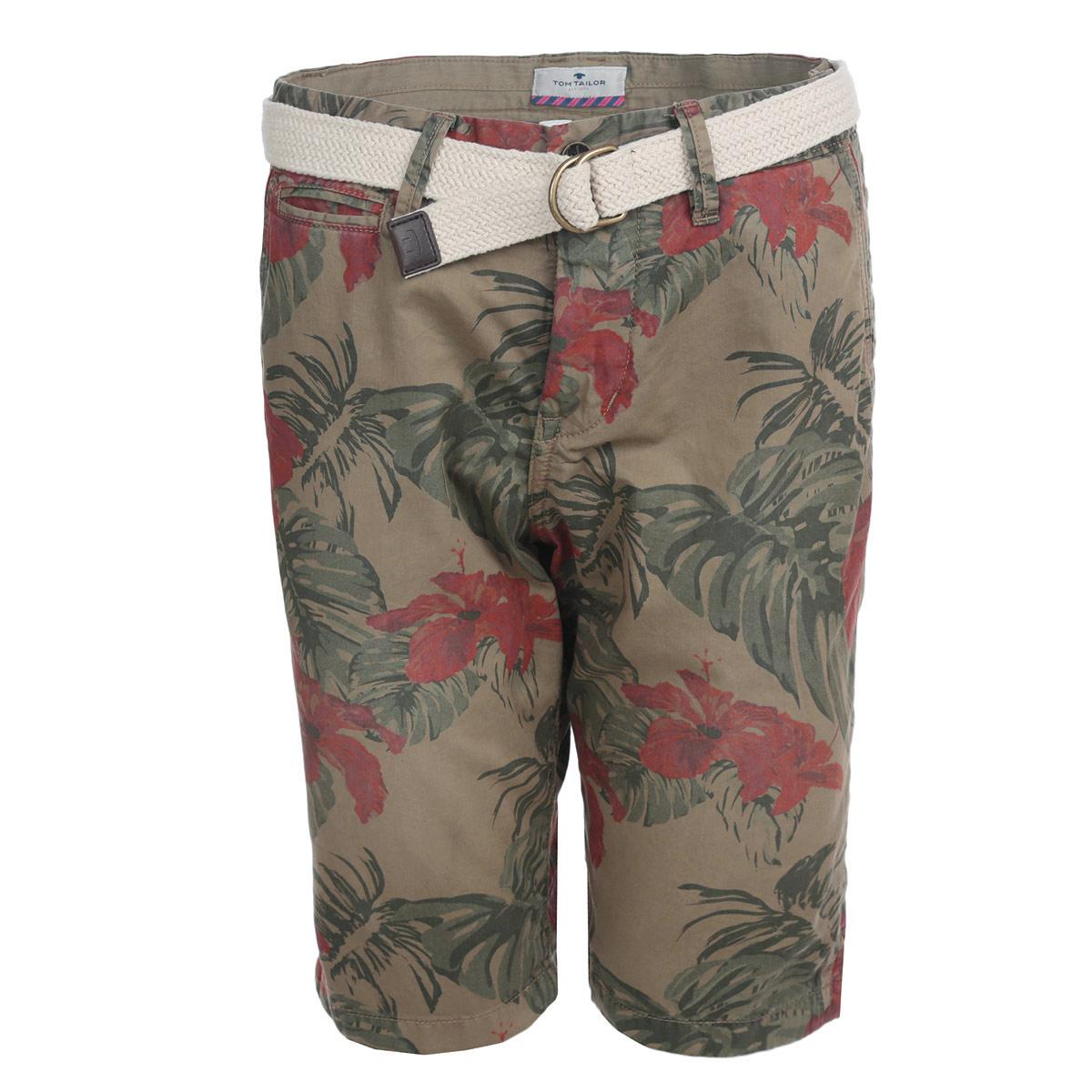 6403265.62.10_6635Стильные мужские шорты Tom Tailor изготовлены из плотной хлопковой ткани, которая подарит вам максимальный комфорт и удобство в жаркую погоду. Модель прямого покроя застегивается на пуговицу в поясе и ширинку на молнии, предусмотрены шлевки для ремня. Спереди шорты дополнены двумя втачными карманами с косыми срезами и одним небольшим секретным кармашком, сзади - два прорезных кармана. Шорты оформлены цветочным принтом. Модель удачно дополняет плетеный из трикотажного шнура ремень с металлической пряжкой. Стильные мужские шорты - удобный и практичный элемент летнего гардероба.