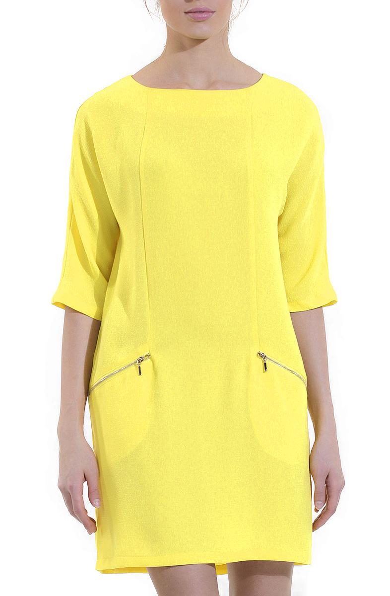 B455003Элегантное платье Baon лаконичного дизайна с округлым вырезом горловины и рукавами до локтя выполнено из полиэстера. Модель прямого кроя, без подкладки. На спинке изделие застегивается на потайную молнию. Спереди модель оформлена двумя втачными карманами на молниях. Яркое платье займет достойное место в вашем гардеробе.