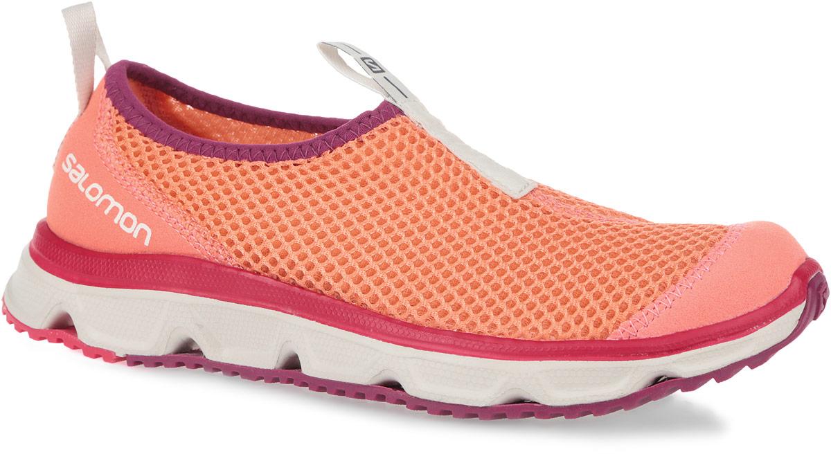 370739Кроссовки Salomon RX MOC 3.0, сочетающие отличную амортизацию и воздухопроницаемость, помогут ногам расслабиться после долгих и утомительных тренировок. Также могут использоваться в качестве повседневной обуви. Модель выполнена из комбинации вентиляционного текстиля с сетчатым верхним слоем и синтетического материала. По канту обувь дополнена текстильной нашивкой для лучшего облегания ноги. Текстильная подкладка и стелька из ЭВА материала с кожаным верхним покрытием обеспечат дополнительный комфорт и предотвратят натирание. Задняя часть обуви оформлена фирменным принтом, ярлычок на подъеме - символикой бренда. Ярлычки предназначены для более удобного надевания обуви. Промежуточная подошва EVA отлично амортизирует. Подошва Contagrip не оставляет следов и обеспечивает отличное сцепление со скользкой поверхностью.