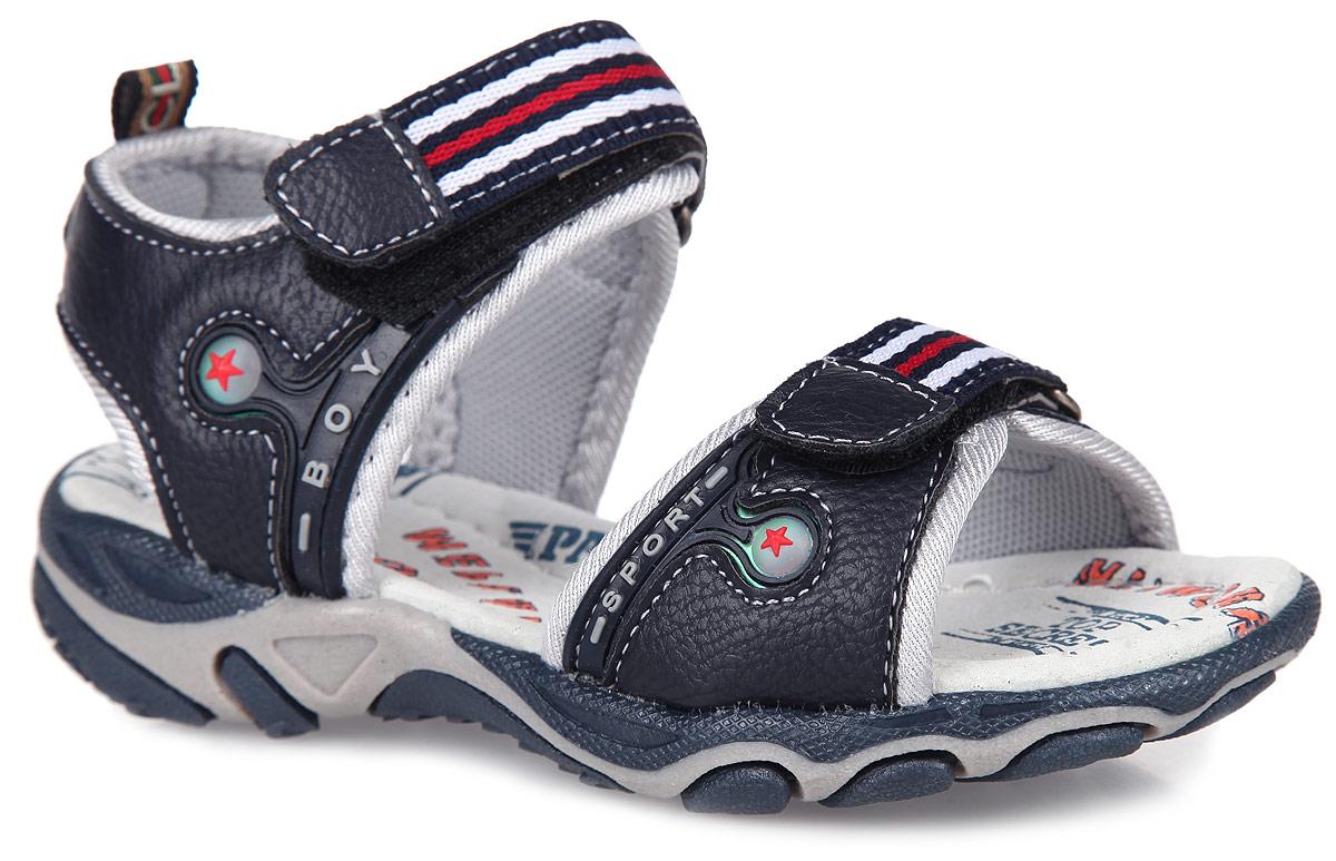 Сандалии для мальчика. 992-035T-15s-01-16992-035T-15s-01-16Модные сандалии от Patrol не оставят равнодушным вашего мальчика! Модель, изготовленная из искусственной кожи и текстиля, оформлена декоративными нашивками. Ремешки с застежками- липучками, украшенные текстильными нашивками, прочно закрепят модель на ножке. Внутренняя поверхность из текстиля и стелька из натуральной кожи комфортны при ходьбе. Стелька дополнена супинатором, который обеспечивает правильное положение ноги ребенка при ходьбе. Подошва с рифлением обеспечивает отличное сцепление с поверхностью. Практичные и стильные сандалии займут достойное место в гардеробе вашего мальчика.