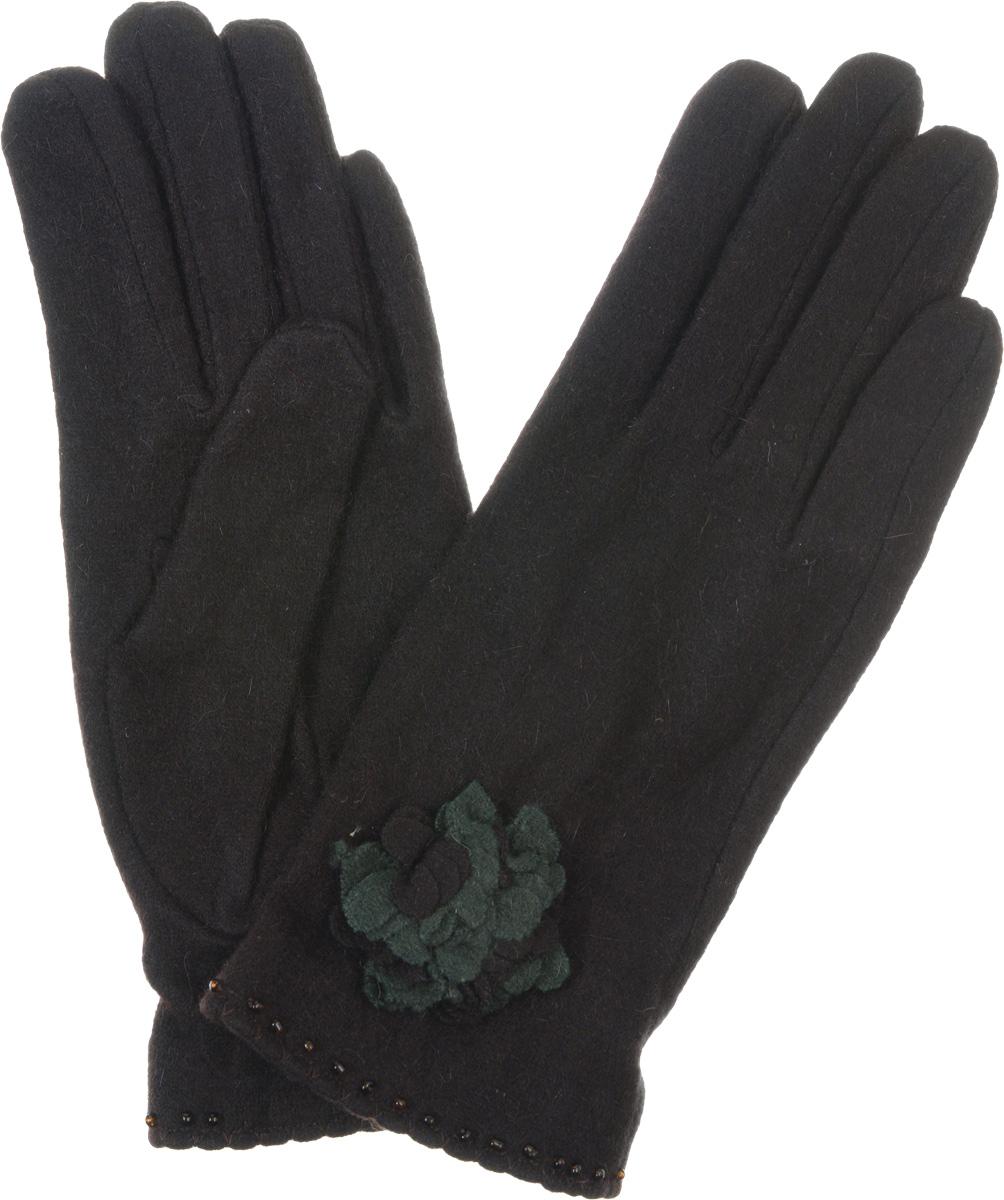 ПерчаткиLB-PH-33Элегантные женские перчатки Labbra станут великолепным дополнением вашего образа и защитят ваши руки от холода и ветра во время прогулок. Они выполнены из плотного шерстяного трикотажа. Модель оформлена декоративным трикотажным цветком, края манжеты украшены бисером. Такие перчатки будут оригинальным завершающим штрихом в создании современного модного образа, они подчеркнут ваш изысканный вкус и станут незаменимым и практичным аксессуаром.